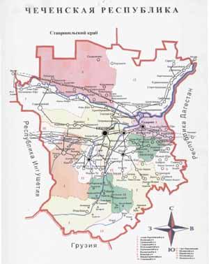 Карта Чечении